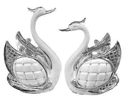SILVER GOLD PAIR SWANS WITH PEARL DIAMANTE HOME DECORATION ITALIAN STYLE ROMANY