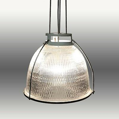 Vintage Industrial Factory Holophane Lamp, Pendant Glass Light Shade.Mid 20thC