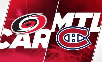 2 Tix  Carolina HURRICANES @ MONTREAL CANADIENS Jan. 25th 2018, Bell c Grey 329B