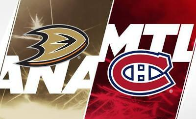 2 Tix  Anaheim DUCKS @ MONTREAL CANADIENS Feb. 3rd 2018, Bell center Grey 329B