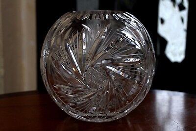 Vintage Cut Glass Crystal Rose Vase/ Bowl Pinwheel