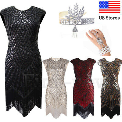 1920s Flapper Dresses Great Gatsby Dress Vintage Evening Party Sequins Prom Gown
