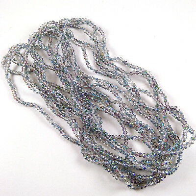 """5 Strands Rainbow Coated Hydro Glass Quartz 4mm Rondelle Faceted Beads 15"""" Long"""