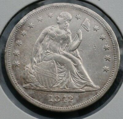1842 *no Motto* Seated Liberty Dollar  *xf Details*   *very Nice*