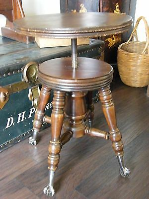 Antique Revolving Adjustable Claw & Glass Ball Piano Stool Display Stand Table