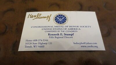 Kenneth Ken Stumpf Medal of Honor signed autographed business card Vietnam