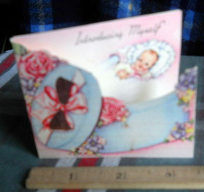 """VINTAGE 15  BIRTH ANNOUNCEMENT *Introducing Myself * 3""""H X 3 1/2""""INCHES W"""