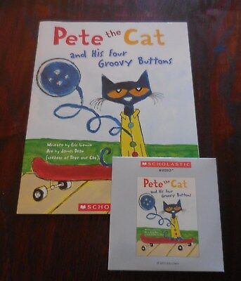 Pete the Cat & His Four Groovy Buttons NEW Scholastic Listening Book with CD