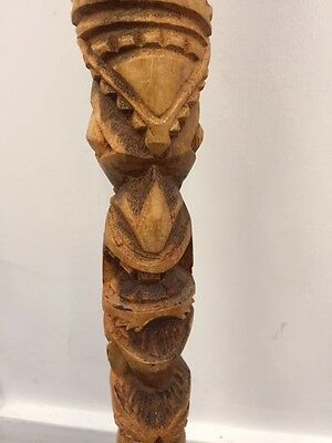 Vintage *WALKING STICK* 88cm Wooden Totem Pole Tiki Cane ❤