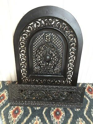 Antique Fireplace Decorative Summer Cover & Baseplate 1800's  Cast Iron