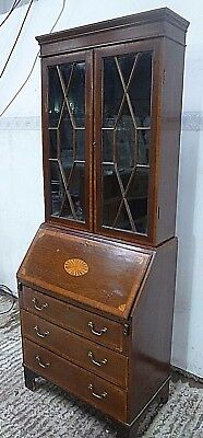 Antique Edwardian inlaid mahogany secretaire bureau bookcase with keys