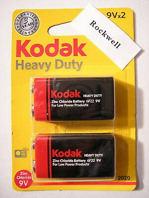 PP3 6F22 - heavy duty - 2 x KODAK 9 VOLT ZINC CHLORIDE BATTERIES **same day UK**