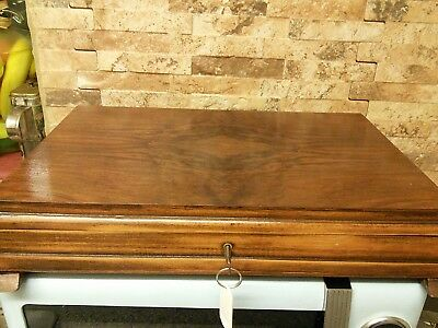antique wooden document jewellery box + key     fabulous interior
