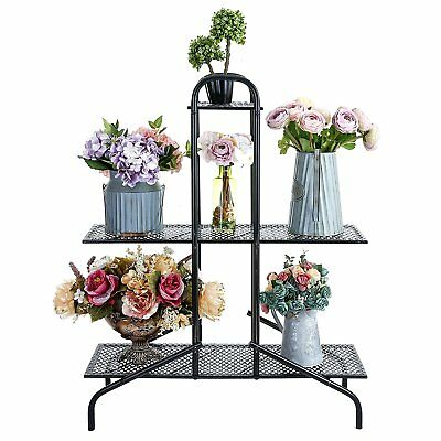 33.5 Inch 3 Tier Planter Stand / Flower Pot Display Rack with Metal Shelves,