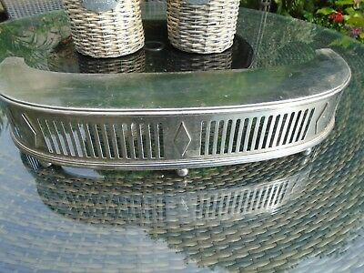 VINTAGE ANTIQUE CHROME DECO FIREPLACE FENDER HEARTH REST C.1920/30s