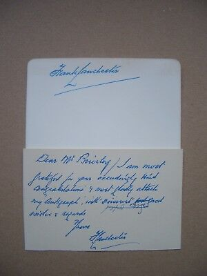 Autograph letter and card signed by the motoring pioneer, Frank Lanchester, 1953