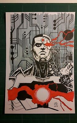 DC comics Cyborg original artwork by Patrick Goddard Inktober series