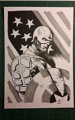 Captain America original artwork by Patrick Goddard Inktober series