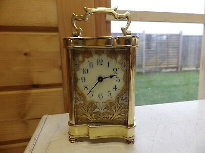 French Art-Nouveau Carriage Clock With A Stunning Gilded Flower Mask Dial 1900s