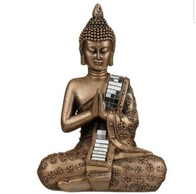 Sitting Buddha Bronze Mirror Effect Garden Oudtoor Indoor Statue Ornament Thai