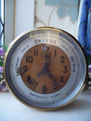RARE & UNUSUAL VINTAGE FRENCH BAROMETRIC ALARM CLOCK c1950 - BAYARD