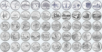 1999-2009 US State Quarters + Territories Complete Uncirculated Set of 56 coins