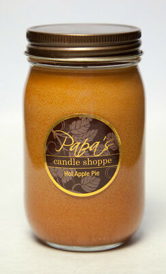 Soy Candles Highly Scented, Papa's Candle Shoppe, Hot Apple Pie 16 oz Mason Jar!