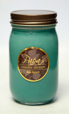Soy Candles Highly Scented, Papa's Candle Shoppe, Blue Spruce 16 oz Mason Jar!