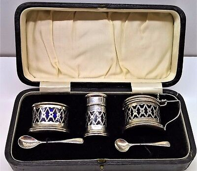 Antique Solid Silver Condiment Set with Blue Glass Liners, Birmingham 1922 & 23