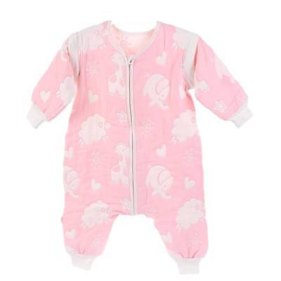 Baby Sleeping Bag with Feet 2.5 tog detachable sleeves Pink Animals