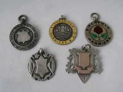 5 Various Solid Sterling Silver Watch Fob Medallions/ 45 g