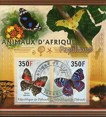Djibouti 2013 CTO Butterflies Animals of Africa 2v M/S II Insects Stamps