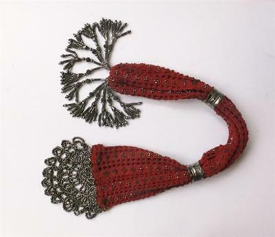 ANTIQUE REGENCY/VICTORIAN KNITTED/CROCHET MISER'S with CUT STEEL BEADS & TASSELS