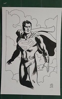 Superman original artwork by Patrick Goddard Inktober series