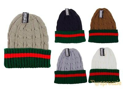 Beanie Ribbed Cable Knit Red Green Stripe Cuff Ski Snow Warm Winter Unisex Beany