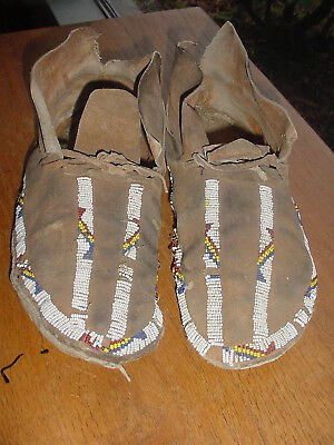 Very Old Pair Of Yakima Plateau Indian Sinew Sewn Beaded Moccasins