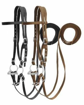 Showman Argentina Leather Side Pull With O-Ring Snaffle Bit NEW HORSE TACK!