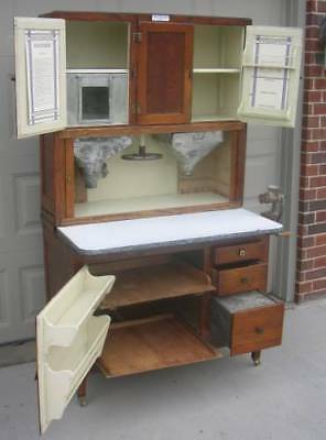 "Oak HOOSIER ""Beauty"" Cabinet w Flour & Sugar Bin, Meat Grinder"