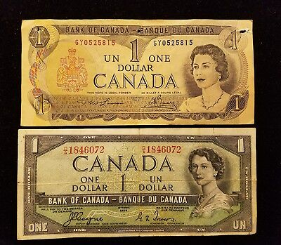 1954 & 1973 CANADA $1 DOLLAR NOTE BILL Bank of Canada Lot of (2)