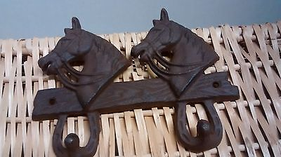 Cast Iron 2 Horse head 2 Hook towel coat hat or key holder Western Tack #TG