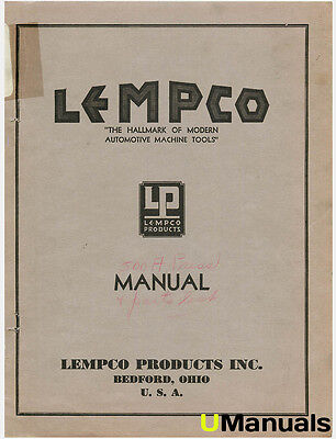 Lempco 500A Press Instruction and Parts Manual