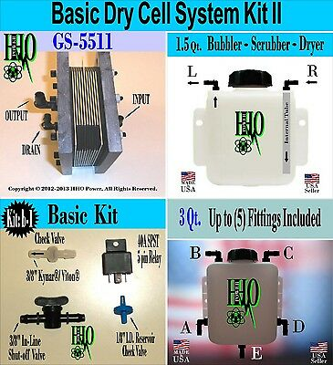 HHO Basic Dry Cell System II, Bubbler, Scrubber Reservoir, Electrical Components