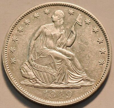 1849 Seated Liberty Half Dollar, Higher Grade, Scarce Type Coin, Silver 50C
