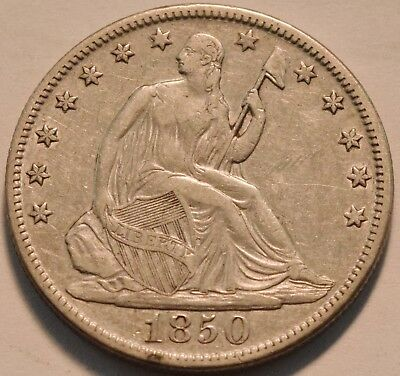 1850 O Seated Liberty Half Dollar, Higher Grade, Scarce Type Coin, Silver 50C