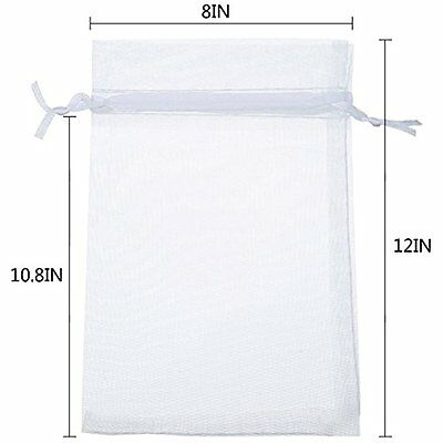 Pack Of 50PCS 8x12 Inch Organza Drawstring Gift Bag Pouch Wrap (White)