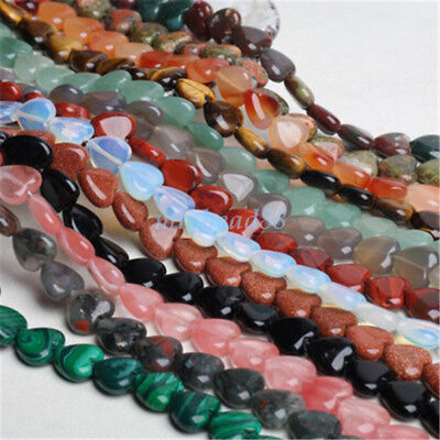 """1 Strand 15"""" Natural Gemstone Heart Shape Spacer Beads 10x10mm Assorted Stones"""