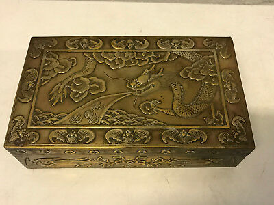 Vintage Antique Chinese Metal & Wood Humidor Box w/ Dragon Clouds Bats Birds Dec