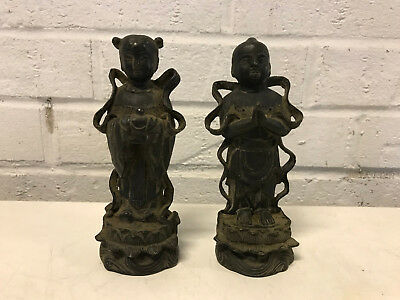Antique Chinese Ming or Qing Dynasty Bronze Pair of Statues Tong Boy & Girl