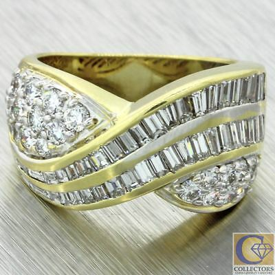 1980s Vintage Estate 18k Yellow Gold 2.50ct Baguette Round Diamond Overlay Band