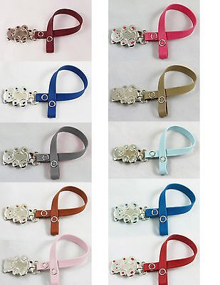 Girls Boys Paci Pacifier Holder Clip Genuine Leather teddy bear nuk (imperfect)